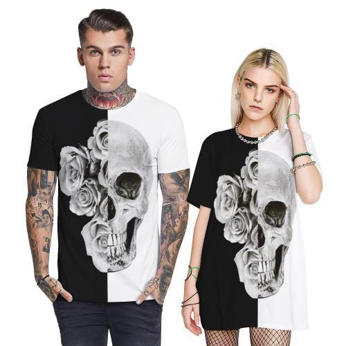 3D Skull Printed Funny Men T-shirt Loose Casual Novelty Short Sleeve Tees Top
