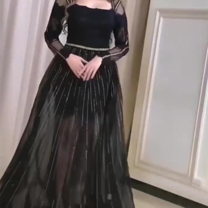 Retro Square Collar Solid Color Silver Thread Decoration Mesh Tuxedo Evening Dress