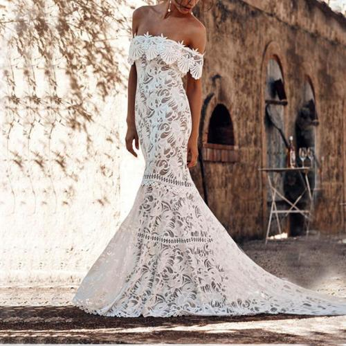 Sexy Lace Trailing Long Sleeve Evening Dress