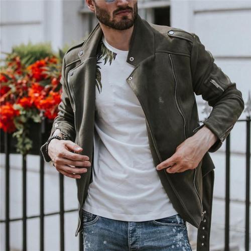 Men's lapel solid color jacket