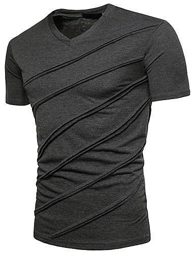 Men Daily Solid Colored V Neck Basic Street Chic Slim T Shirt