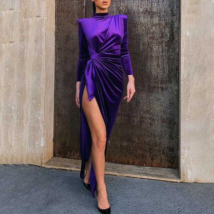 Fashion Purple Color High Slit Pleated Dress