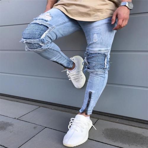 Motorcycle Pants Knee Pleats Broken Zipper Stretch Jeans