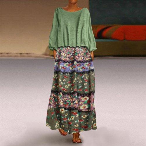 Plus Size 5XL Two Pieces Floral Print Long Sleeve O-Neck Loose Linen Long Maxi Dresses
