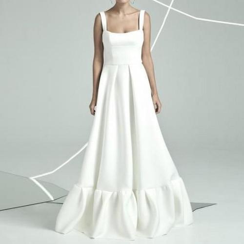 Square Collar Sleeveless Long Maxi Dresses White Black Vintgae Fashion Maxi Dresses