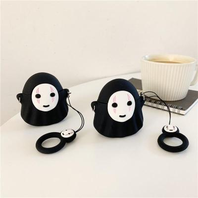 Spirited Away No Face Man 3D Silicone Couple AirPod Case Cover with Ring
