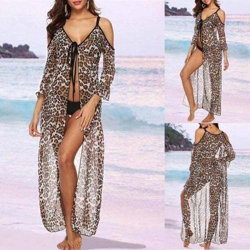 2020 New Cover-ups Summer Women Beach Wear Leopard Strap Tunic Dress Bikini Bath Sarong Wrap Skirt Swimsuit Cover Up Female Robe