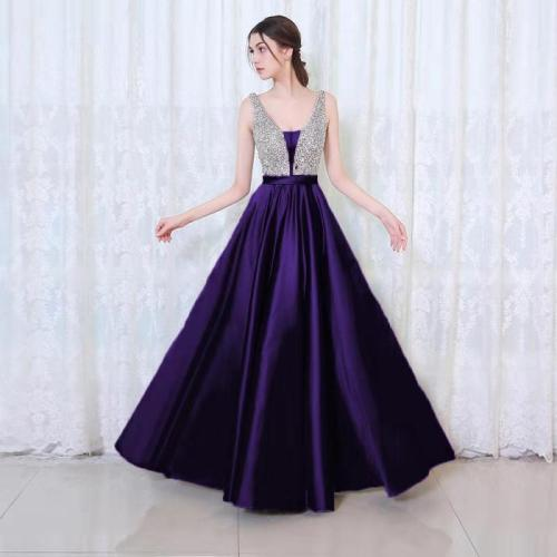 BacklakeGirls New Arrival Floor Length Sexy V Neck Satin Evening Dress Sequined Prom Gowns Plus Size Vestido Largo De Noche