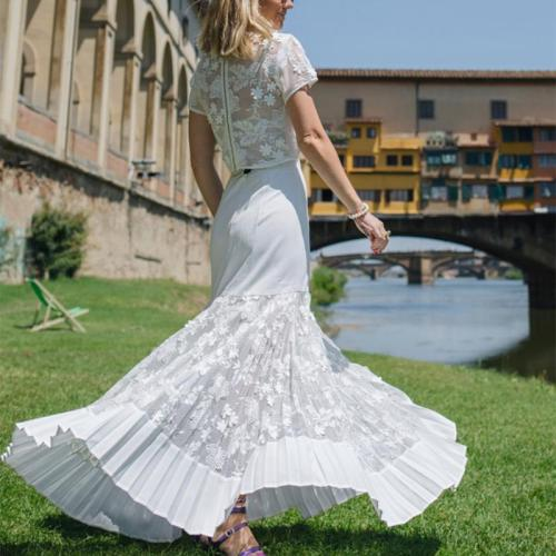 Elegant  Pure Color Lace  Event  Dress