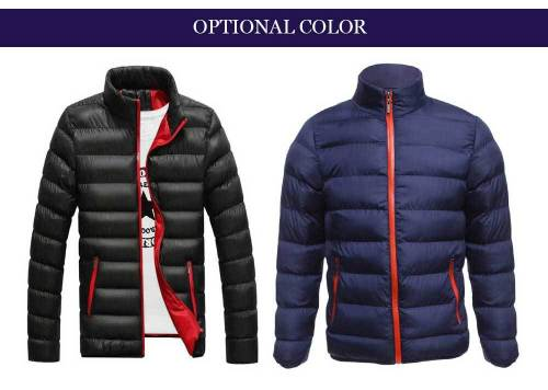 Casual Slim Fit Solid Color Male Stand Collar Warm Coat 8003