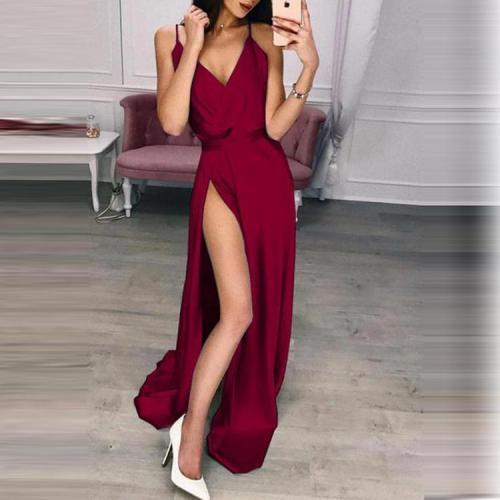 Solid Color Split Long Skirt Evening Dress