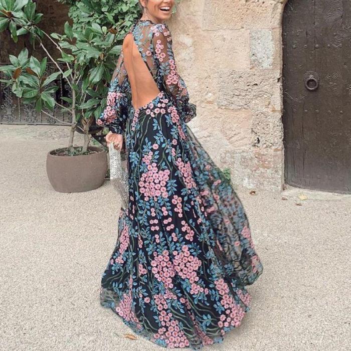 Sexy Round Neck Decorative Design Perspective Maxi Dress
