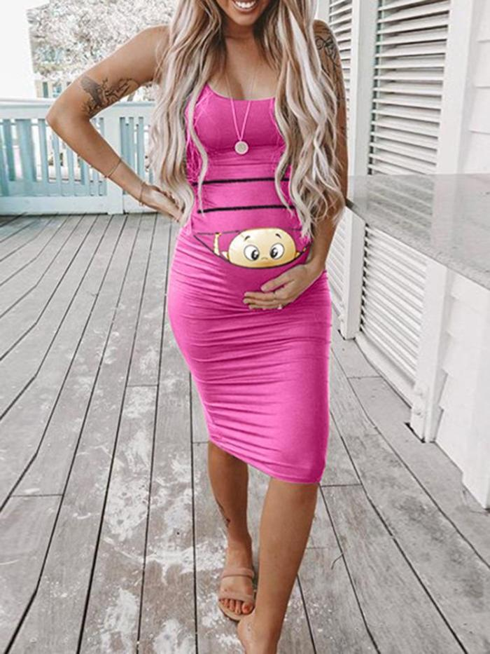 Maternity Dresses For Photo Shoot Sleeveless Dresses Cartoon Printed Cute Solid Pregnancy Dresses Comfy Pregnant Women Clothes