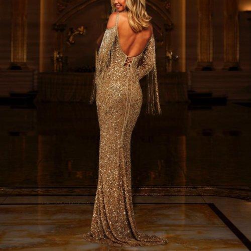 Off-the-shoulder sexy shiny slim evening dress