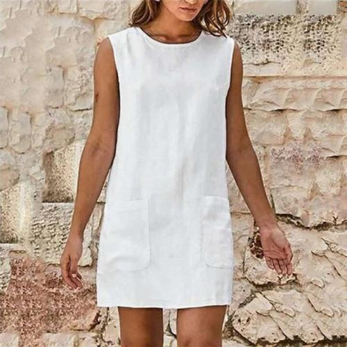 Round Neck Plain Sleeveless Cotton And Flax Dress