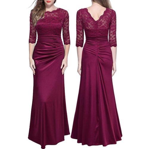 Elegant Mermaid Black Lace Long Evening Dresses Three Quarter Sleeve Lace Applique Robe De Soiree Longue Formal Evening Gown