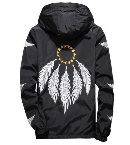 DropShipping Wholesale men Embroidery Wing Feather Jackets Windbreaker Coats Men Women Spring Autumn School jaqueta masculina