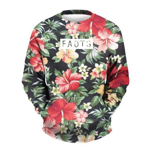 Men's Flower Printed Round Collar Sweatshirt