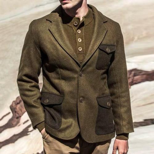 Elegant Gentleman Colorblock Pocket Wool Blazer