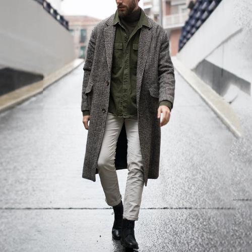Fashion Fold Over Collar Single-Breasted Plaid Coat
