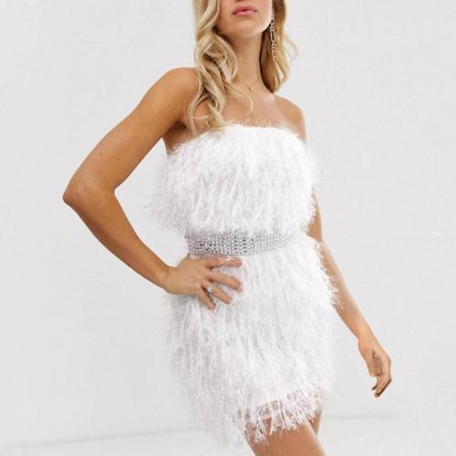Sexy Tassel Strapless Rhinestone Belt Mini Dress