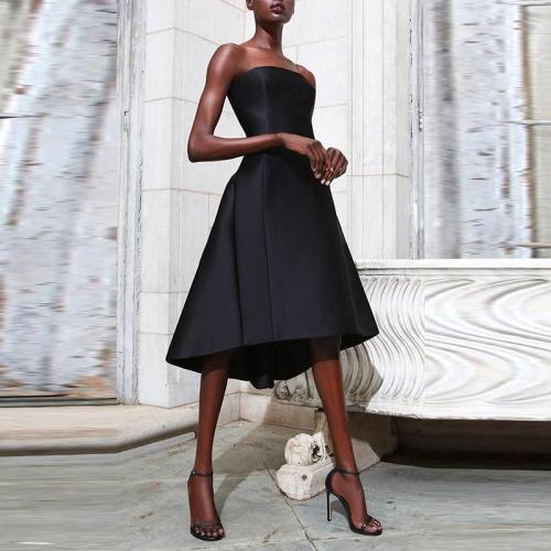 Classy Pure Colour Pressure Plait Strapless Dress