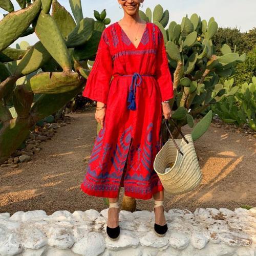 Women's Bohemian V Neck Long Sleeve Elastic Waist Printed Color Dress