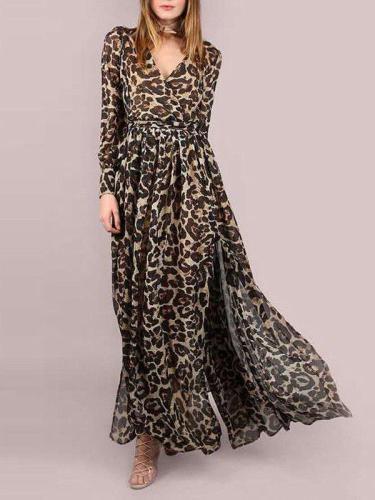 Women Leopard V Neck Long Sleeve Chiffon Maxi Dresses