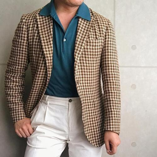 Vintage Classic Houndstooth Long Sleeves Fitted Blazer