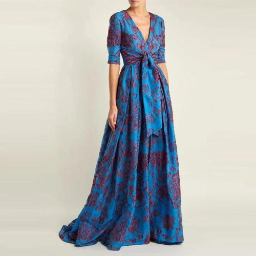 Vintage V-neck colorblock printed short-sleeved lace dress