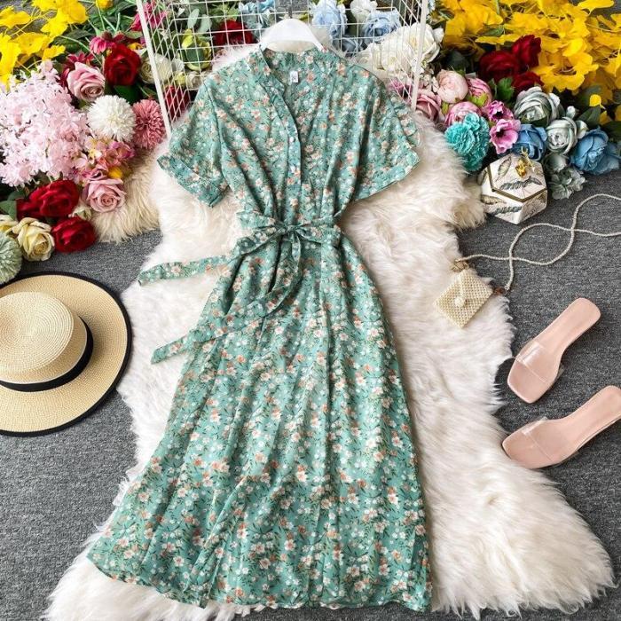 JOYMANMALL Summer Women Floral Sundress Korean Chiffon Midi Long Dress Vintage Sashes Party Elegant A-Line Bohemian Flower Print