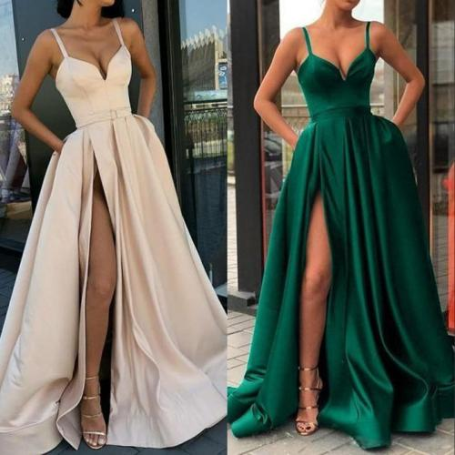 Deep V Neck Split Maxi Dresses Sexy Party Dresses Solid Backless Long Spaghetti Strap Maxi Dresses