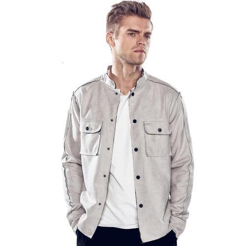 Cool Lapel Collar Plain Double Packets Jacket Coat