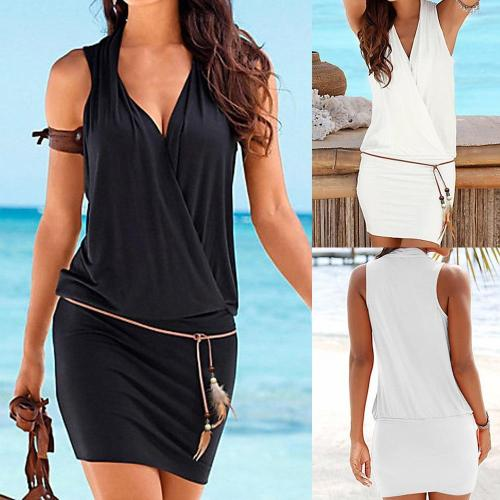 2020 hot new dress Fashion Women Casual V-Neck Hollow Out Sleeve Straight Dress Solid Beach Style Mini dress women W0528