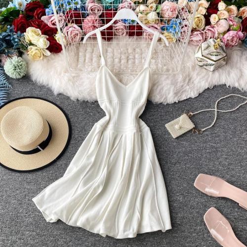 JOYMANMALL Women Summer Knitting Strap Dress Sexy Backless V Neck Sleeveless Dress Korean Simple Solid Streetwear Short Dress