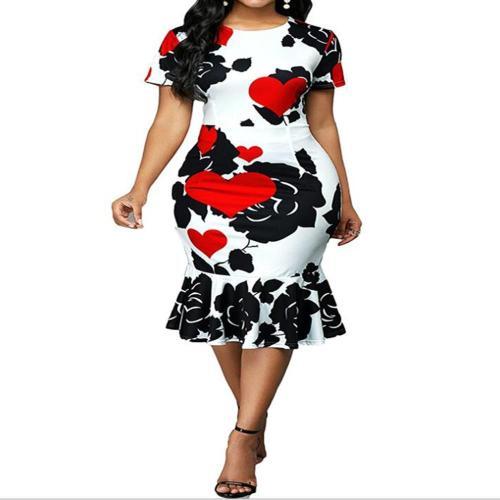 Elegant Vintage Floral Print Slim Mermaid Dresses Women 2020 Spring Summer Casual Ruffles Sexy Party Bodycon Dress Plus Size 5XL
