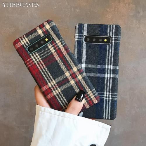 Retro England Tweed Plaid Fabric Hard Cases For Samsung