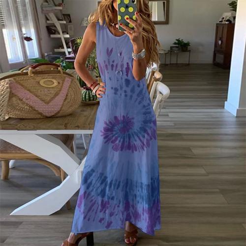 O-Neck Casual Tie-Dye Printed Beach Sundress Vest Maxi Dresses 5XL