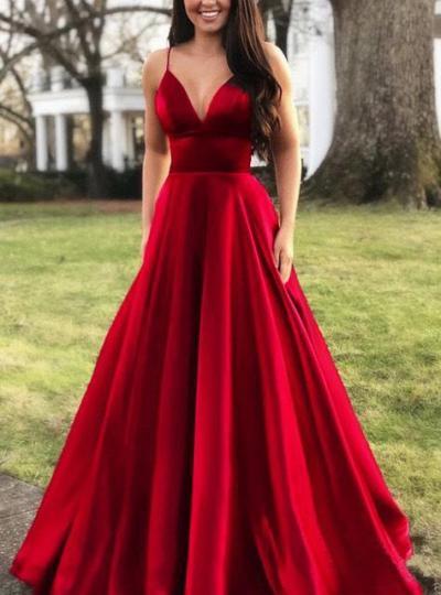 BacklakeGirls 2020 Ladies Sold Color Sexy Deep V Neck Sleevless Satin Evening Dress Long Women Gala Dress Vestido Largo Noche