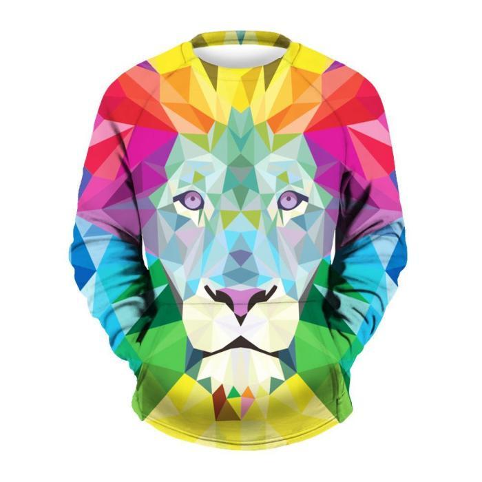 Men's Lion Print Crew Neck Sweatshirt