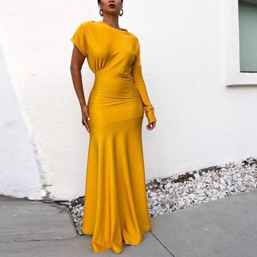 Fashion Solid Color Long Short Sleeve Fishtail Dress