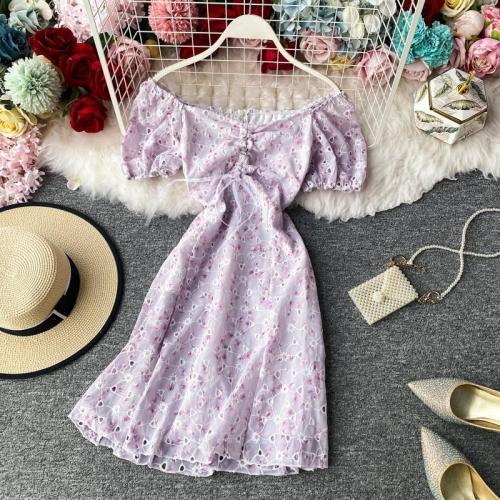 JOYMANMALL Women Sexy Off Shoulder Floral Dress New Slash Neck Drawstring Dress Summer French Sweet Bohemian Print Short Dress