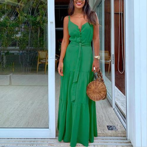 Summer Green Tunic Maxi Dress V Neck Robe Femme Belt Elegant Ruffles Party Long Dresses Spaghetti Strap Casual Vestidos Mujer