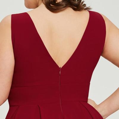 Dressv burgundy plus size long evening dress cheap v neck zipper up beading wedding party formal dress a line evening dresses