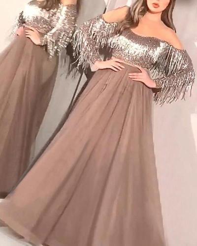 Long Sleeve Fringed Mesh Evening Dress
