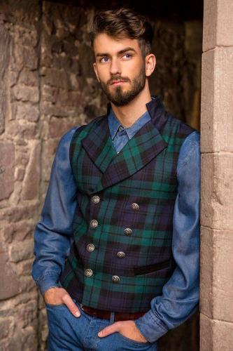 Flashmay Casual Plaid Double Breasted Vest