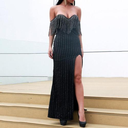 Sexy Striped Fringed Evening Dress
