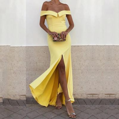 Sexy Boat Neck Pure Colour Sleeveless Evening Dress