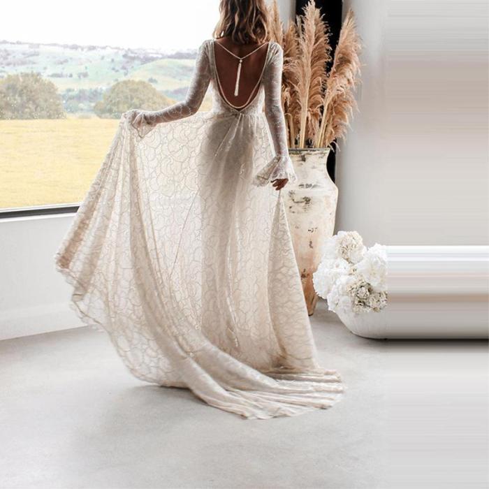 Sexy Deep V Long Sleeve Open Back Dress