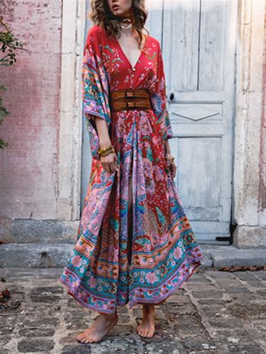 Fashion Bohemian Printed Long Dress Evening Dress